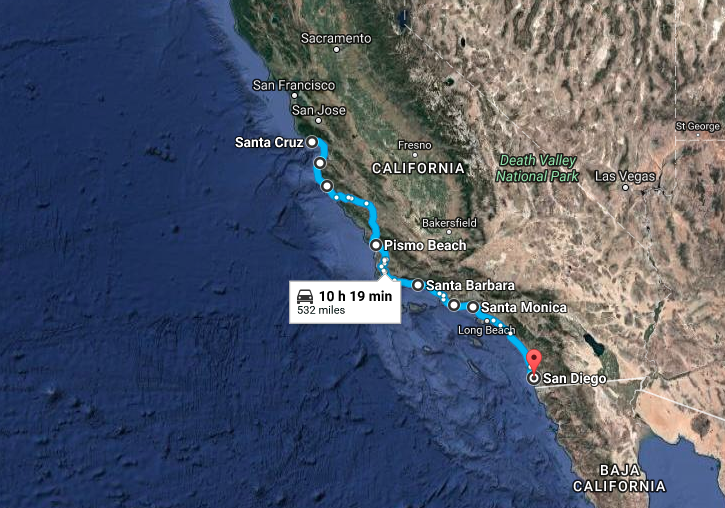 VanLife California Road Map
