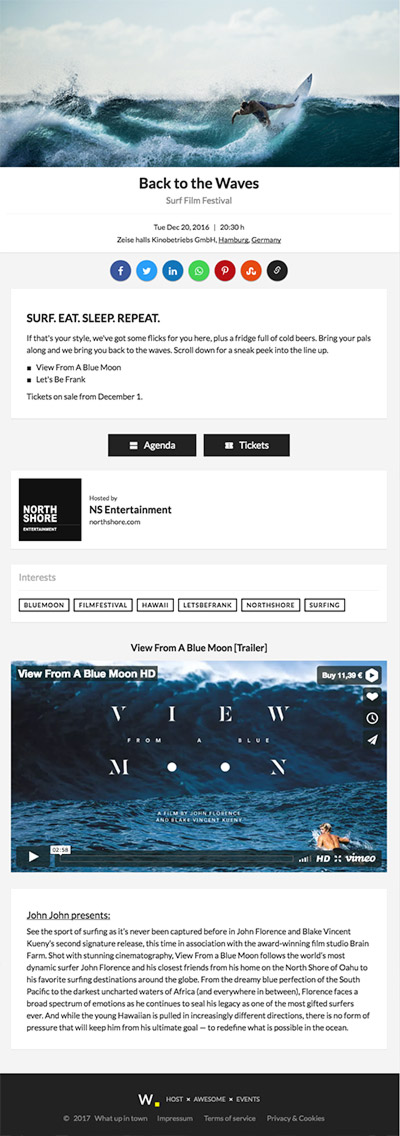 Responsive event page layout on tablet